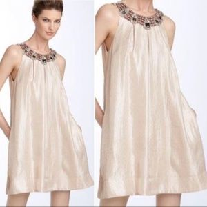 Champagne dress with embellished neckline